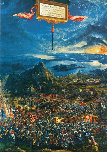 Albrecht Altdorfer: The Battle of Alexander the Great at Issus. Historical Fine Art Print.
